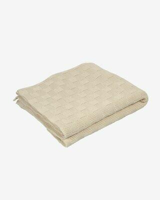 Manta Saian con cuadrados 100% algodón beige 125 x 150 cm