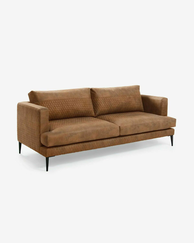 Sofá Tanya 3 plazas tela acolchada marrón óxido 183 cm