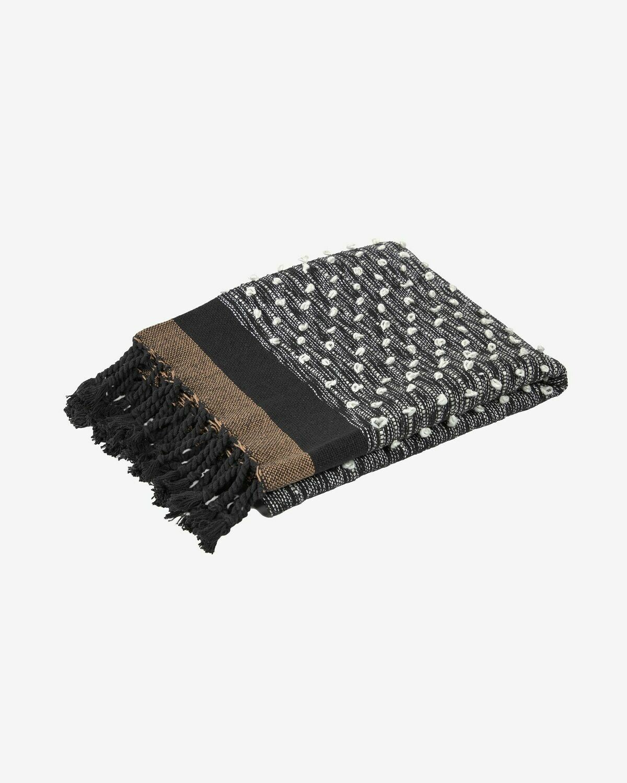 Manta Gravel algodón marrón y negro 130 x 170 cm
