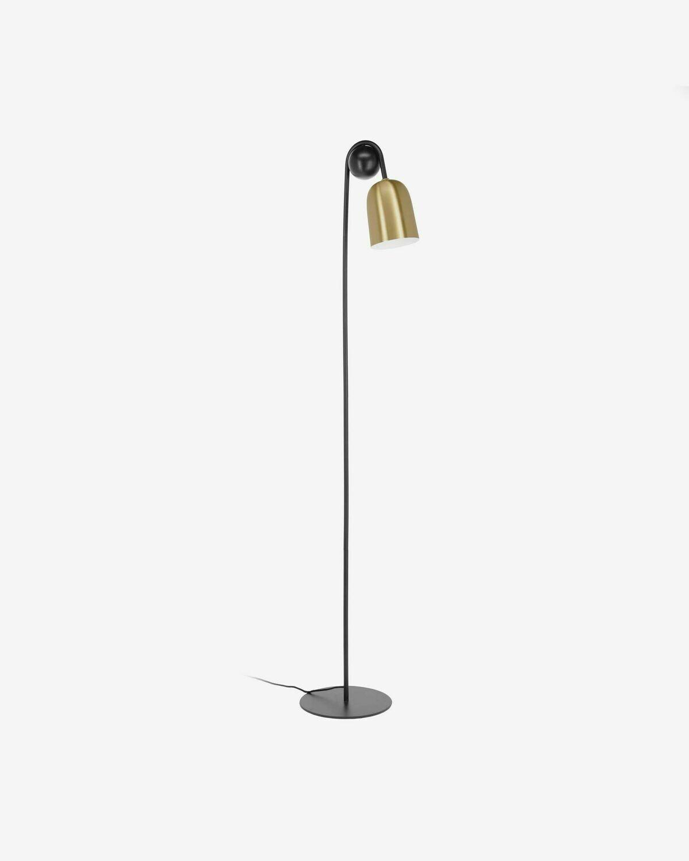 Lámpara de pie Natsumi de metal, madera y mármol