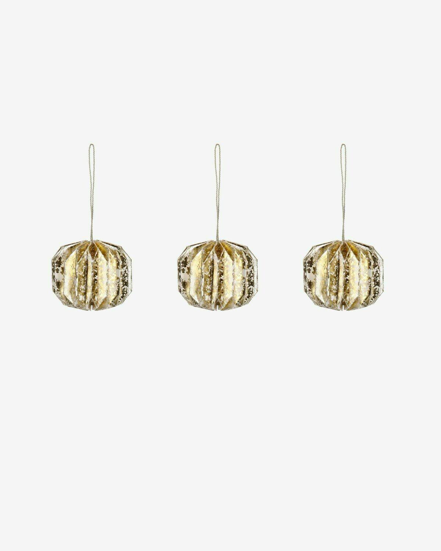 Set Wendy de 3 bolas decorativas dorado