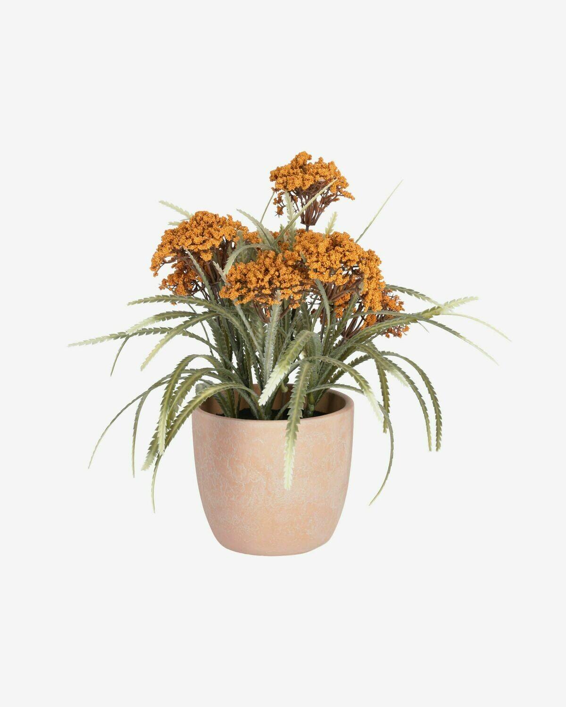 Planta artificial Leonitis leonurus con maceta de cerámica rosa 29 cm