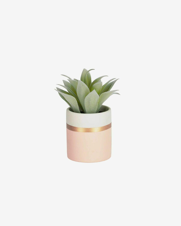 Planta artificial Agave attenuata con maceta de cerámica rosa 14 cm