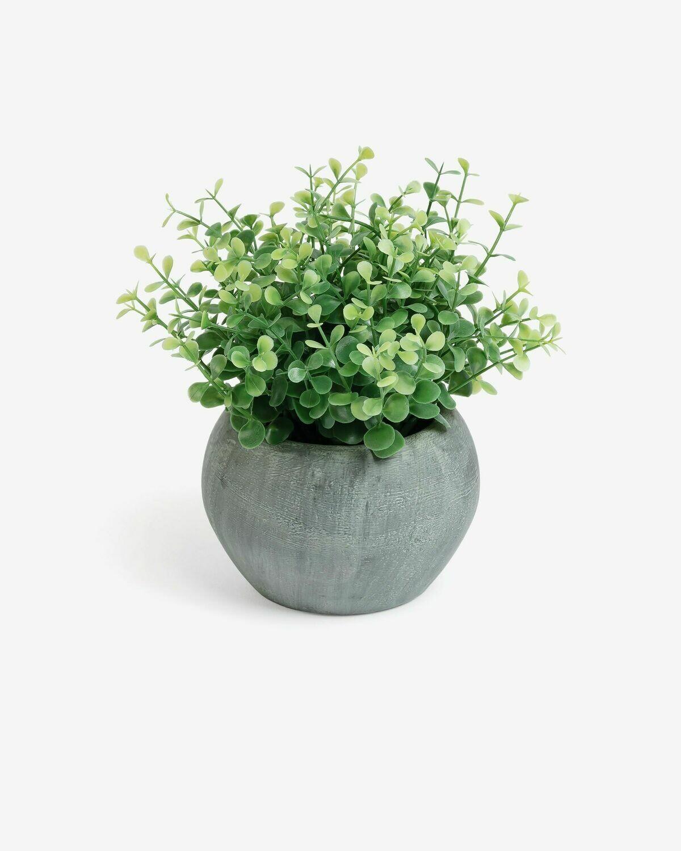 Planta artificial Eucalipto con maceta gris 19 cm