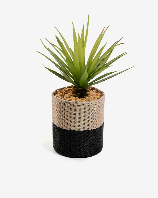 Planta artificial Palmera pequeña con maceta de rafia natural y negro 21 cm