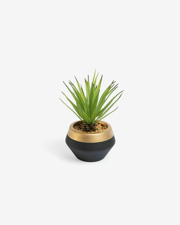 Planta artificial Palmera pequeña con maceta de cerámica negro y dorado 18 cm