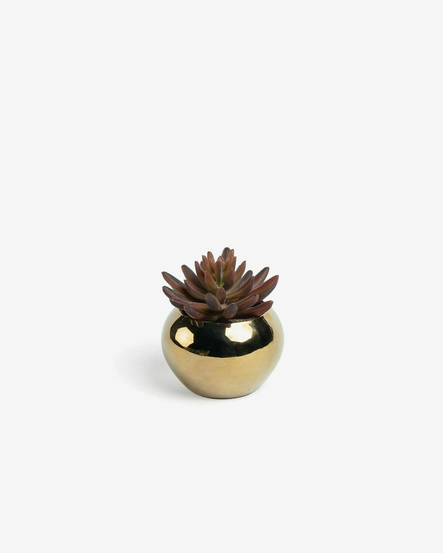 Planta artificial Sedum lucidum con maceta de cerámica dorado 11 cm