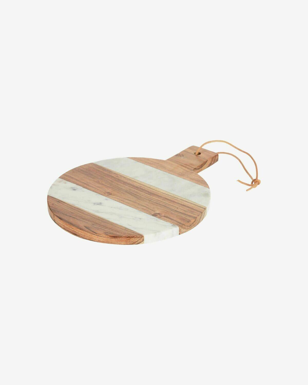 Tabla de servir redonda Tresa madera maciza acácia y mármol blanco