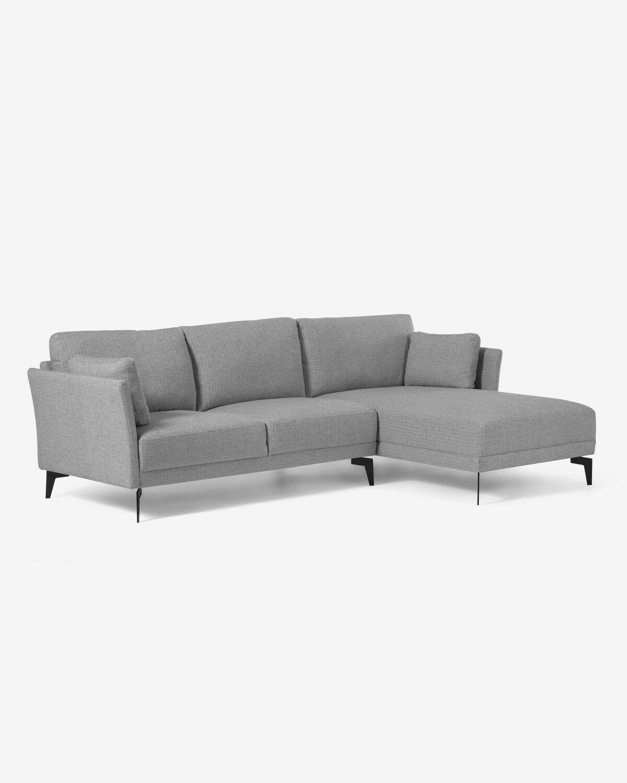Sofá Gilma 3 plazas con chaise longue derecho gris 260 cm