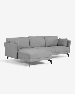 Sofá Gilma 3 plazas con chaise longue izquierdo gris 260 cm