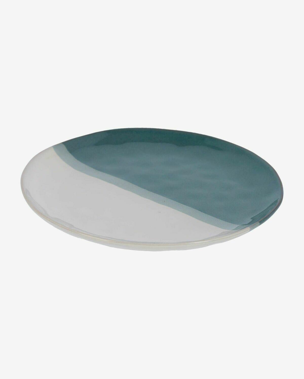 Plato plano Nelba de cerámica blanco y azul