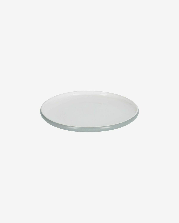 Plato de postre Sadashi de porcelana blanco y gris