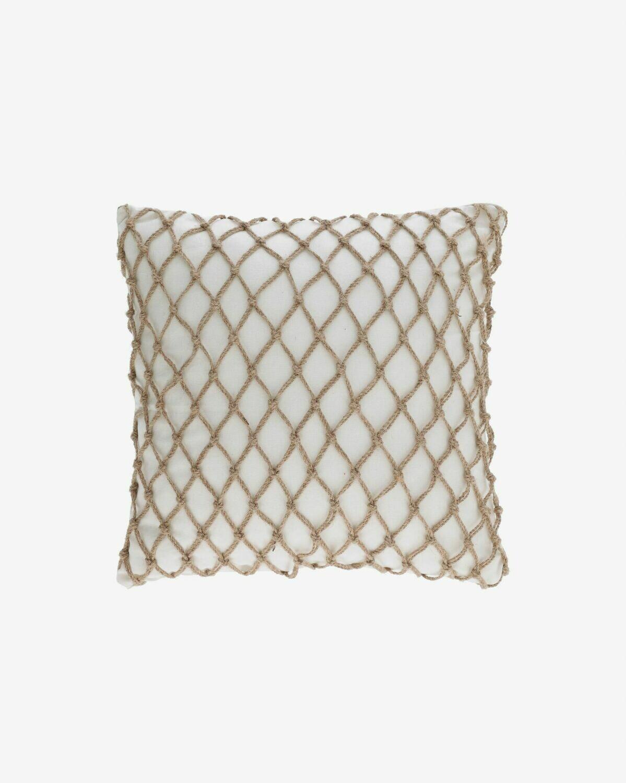 Funda de cojín Edelma blanco con cordón de yute de 45 x 45 cm
