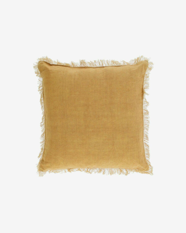 Funda cojín Almira algodón y lino flecos mostaza 45 x 45 cm