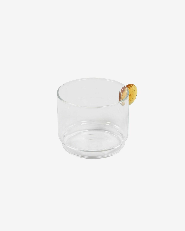 Vaso Murielle vidrio transparente y naranja
