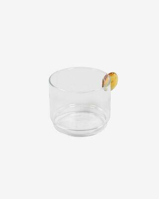 Vaso Murielle cristal transparente y naranja