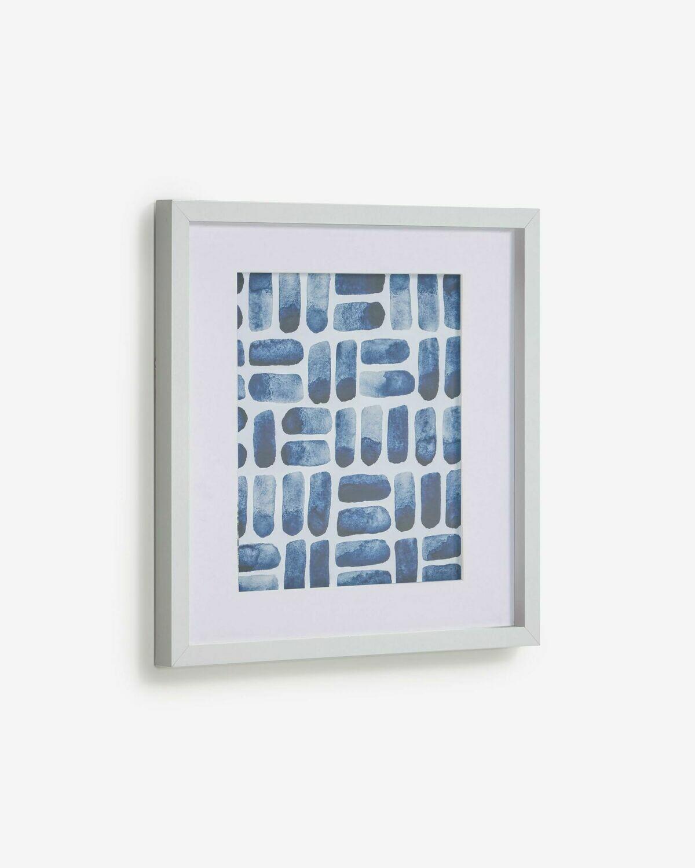 Cuadro Kuma rectángulos azul 40 x 40 cm