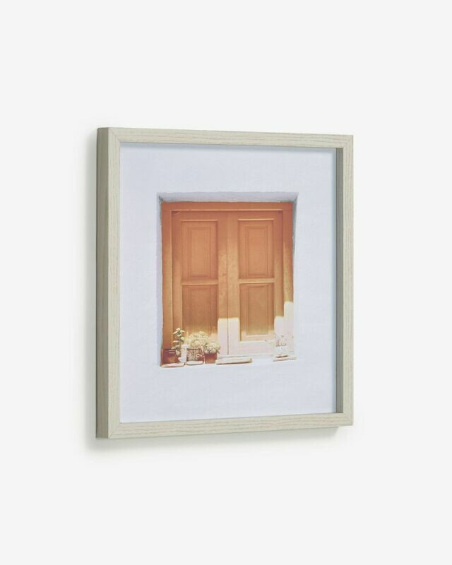 Cuadro Leyla ventana casa marrón 40 x 40 cm