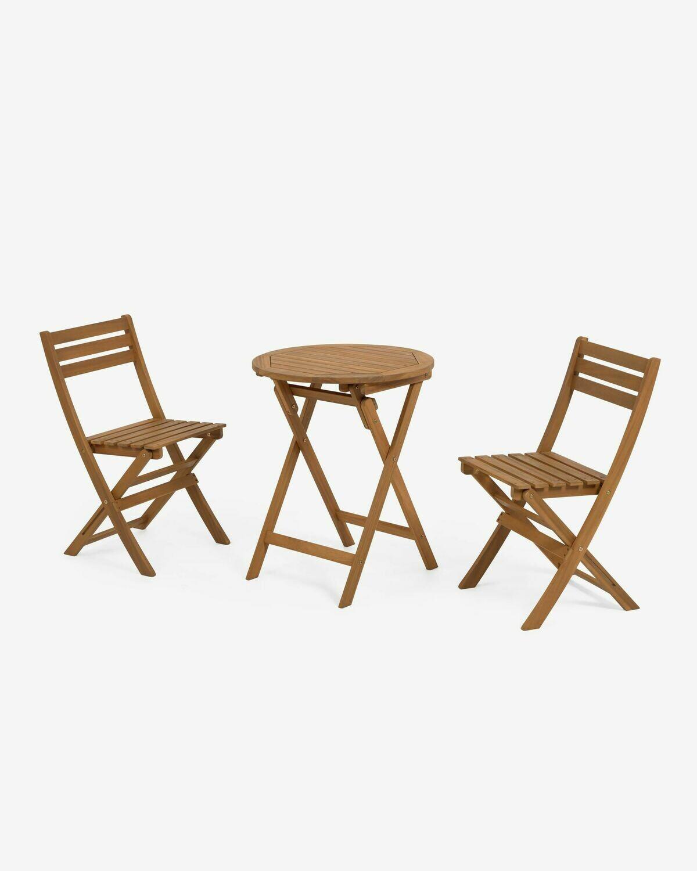 Set de exterior Elisia de mesa y 2 sillas plegables de madera maciza acacia FSC 100%