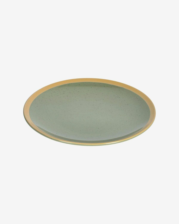 Plato plano Tilia cerámica color verde oscuro