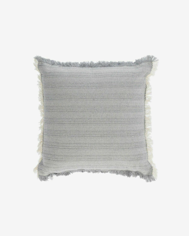 Funda cojín Devi 100% algodón flecos beige y azul 45 x 45 cm