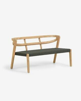 Sofá Ezilda 2 plazas madera maciza eucalipto y cuerda verde 122 cm FSC 100%