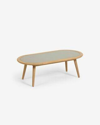 Mesa de centro Nina polycemento y madera maciza eualipto Ø 120 x 60 cm FSC 100%
