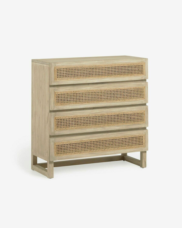 Cómoda Rexit 4 cajones madera maciza y chapa mindi con ratán 90 x 93 cm