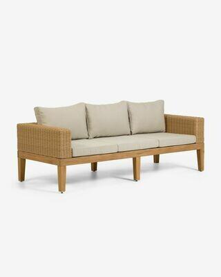 Sofá Giana de 3 plazas madera maciza acacia y ratán 193 cm FSC 100%