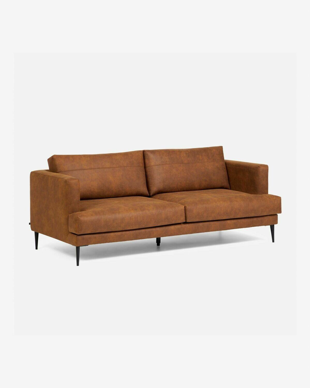 Sofá Tanya 3 plazas tapizado marrón claro 183 cm