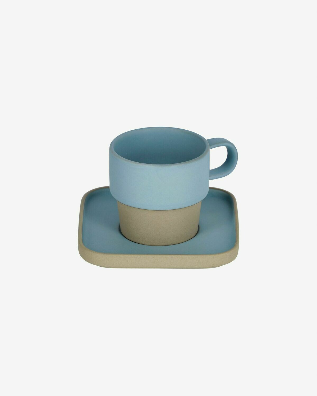 Taza con plato Midori cerámica azul
