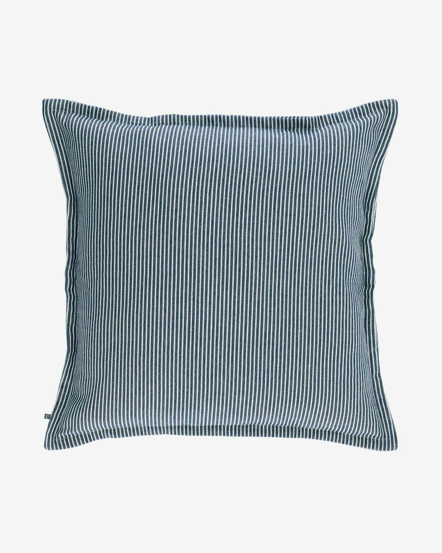 Funda cojín Aleria algodón rayas blanco y azul 60 x 60 cm