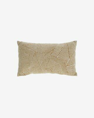 Funda cojín Devi 100% algodón rayas beige y marrón 30 x 50 cm