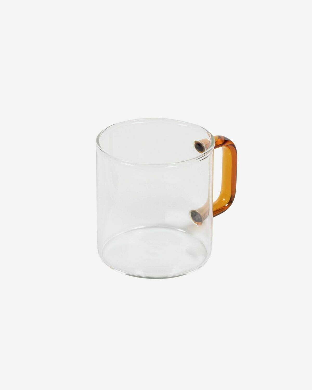 Taza Coralie vidrio transparente y naranja