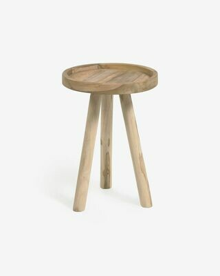 Mesa auxiliar redonda Glenda madera maciza teca Ø 35 cm
