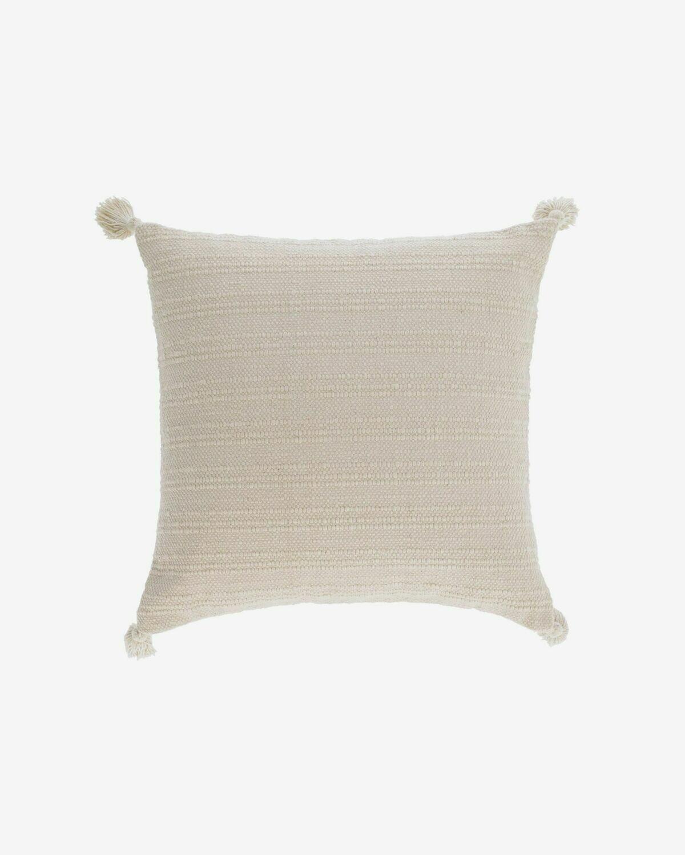 Funda cojín Devi 100% algodón borlas blanco 45 x 45 cm