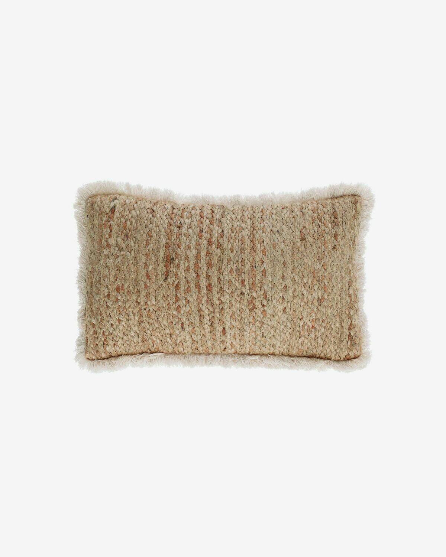 Funda cojín Clidia yute y algodón flecos 30 x 50 cm
