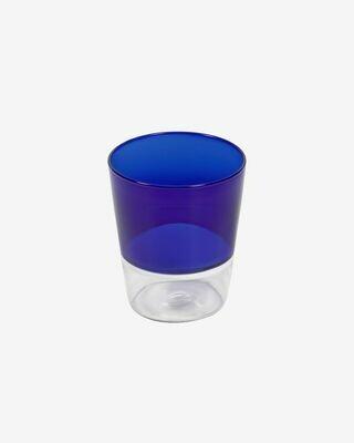 Vaso Diara cristal transparente y azul