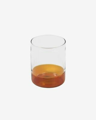 Vaso Dorana cristal transparente y naranja