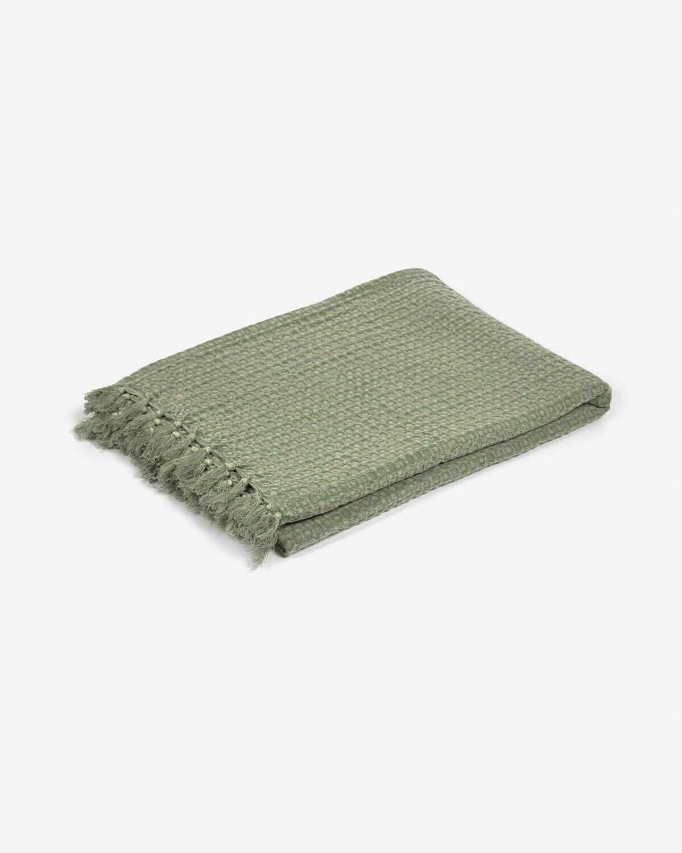 Manta Shallowy 100% algodón verde 130 x 170 cm