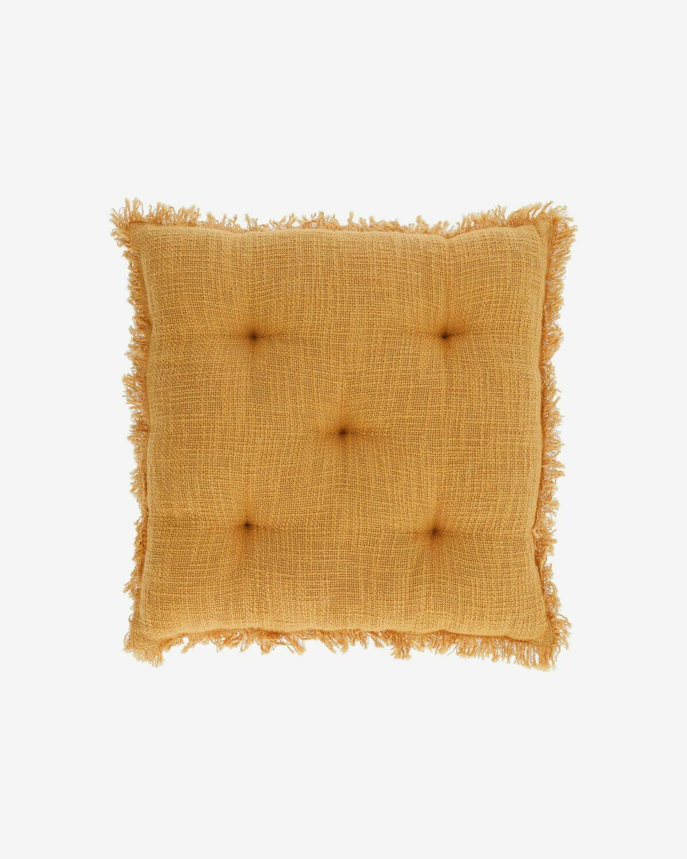 Cojín para silla Brunela 100% algodón mostaza 45 x 45 cm