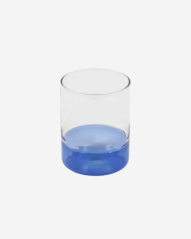 Vaso Dorana cristal transparente y azul