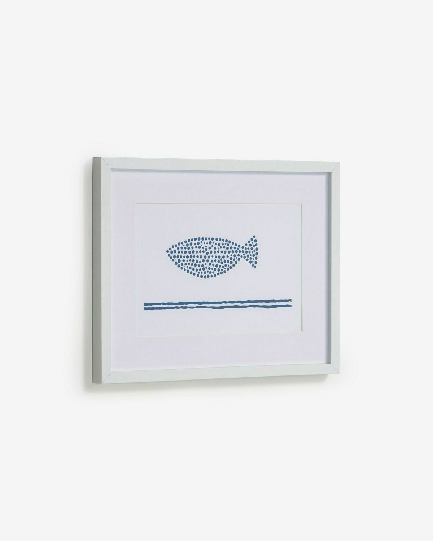 Cuadro Kuma pez con puntos azul 30 x 40 cm