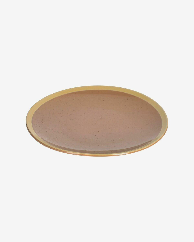 Plato plano Tilia cerámica color marrón claro