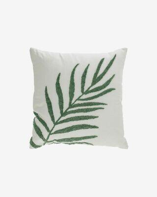 Funda cojín Amorela 100% algodón hoja bordada verde 45 x 45 cm