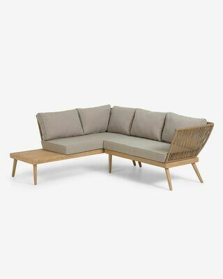 Sofá rinconero Ramson 3 plazas madera maciza eucalipto y cuerda beige 180 x 180 cm
