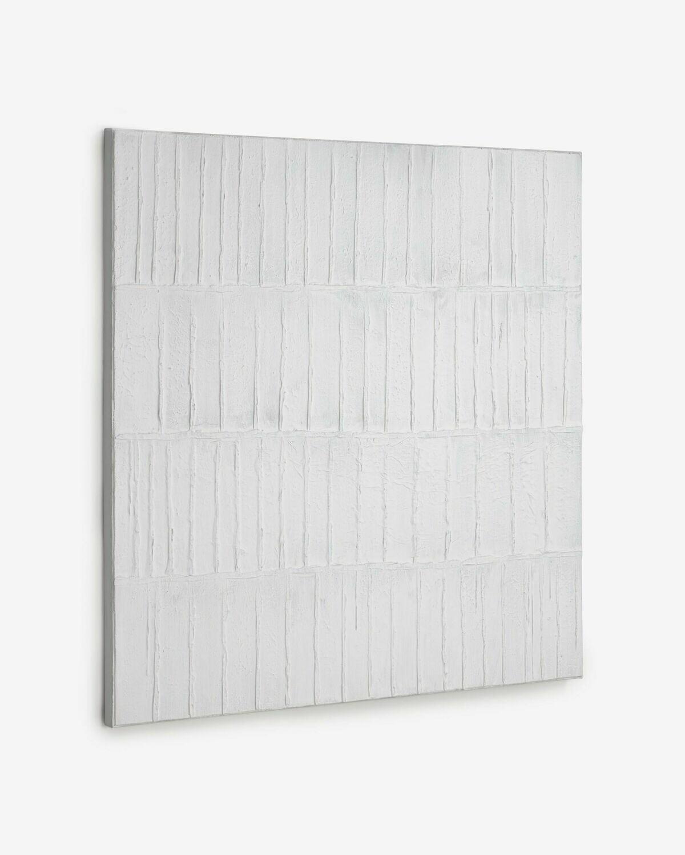 Lienzo Basilisa blanco y gris 90 x 90 cm