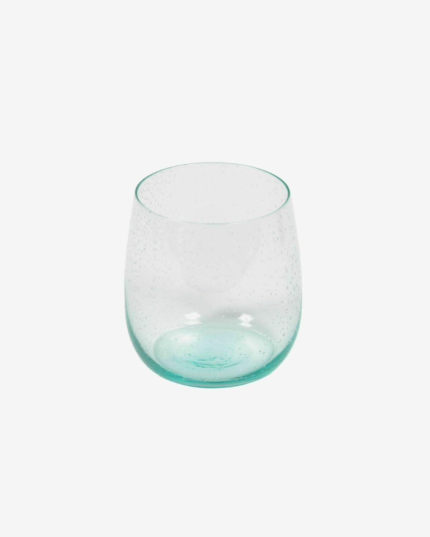 Vaso Dusnela cristal transparente y azul