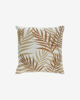 Funda cojín Amorela 100% algodón hojas marrón 45 x 45 cm