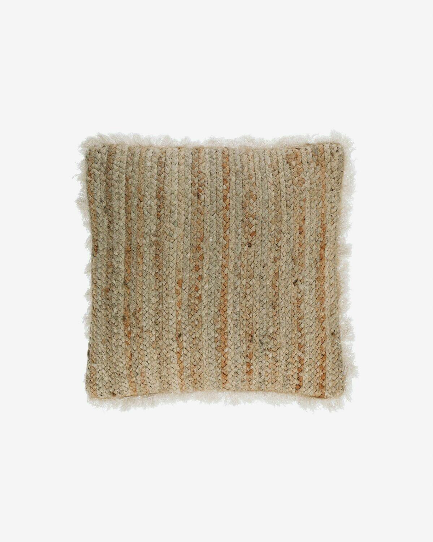 Funda cojín Clidia yute y algodón flecos 45 x 45 cm